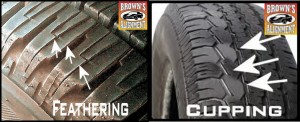 tire wear, feathering, Cupping, Browns Alignment Brake Auto Repair raleigh, nc