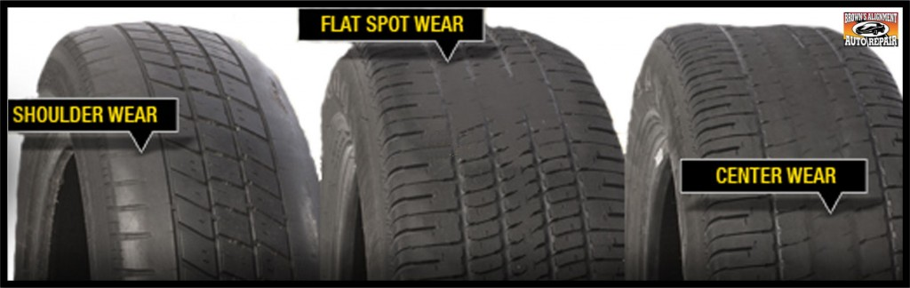 types of tire wear flatspots, cuppimg, feathering, Browns Alignment Brake Auto Repair raleigh, nc